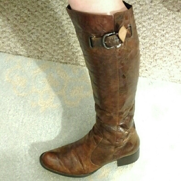 Born Brown Textured Tall Leather Boots Size 9