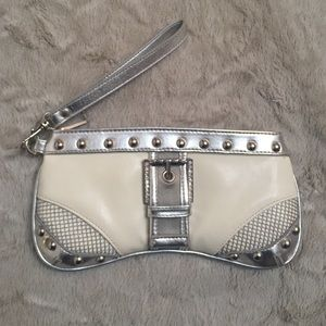 Pepe Jeans Handbags - White and Silver Wristlet/Clutch