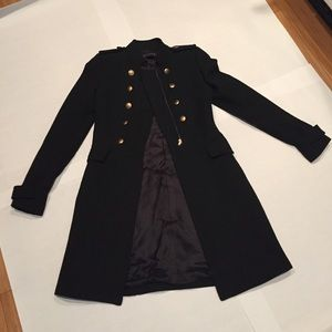 Zara Black Trench Coat w/ Gold Buttons