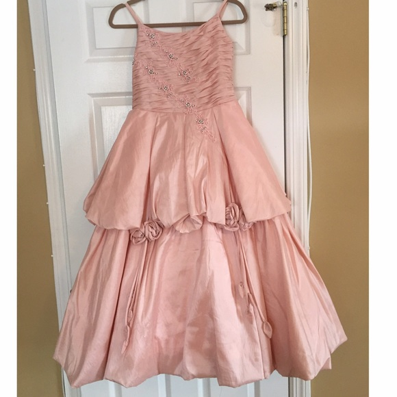 Dresses   Girls Salmonpink Gown With Crystal Detail Shawl   Poshmark