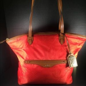 Lauren Ralph Lauren Handbags - Ralph Lauren Orange and Tan Nylon and Leather Tote