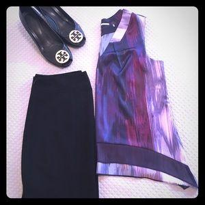 Tahari Purple Sleeveless Blouse