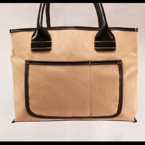 Saks Fifth Avenue Handbags - Saks Fifth Avenue Beige and Black Shopper
