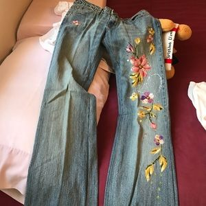 Angels Pants - Size 5 Angels Flower Embroidered Jeans