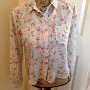 Topshop Pastel Floral Button Down Top