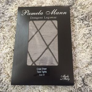037ddfe9fa9 Pamela Mann Accessories - Pamela Mann Black Cross Sheer Tock Tights Medium