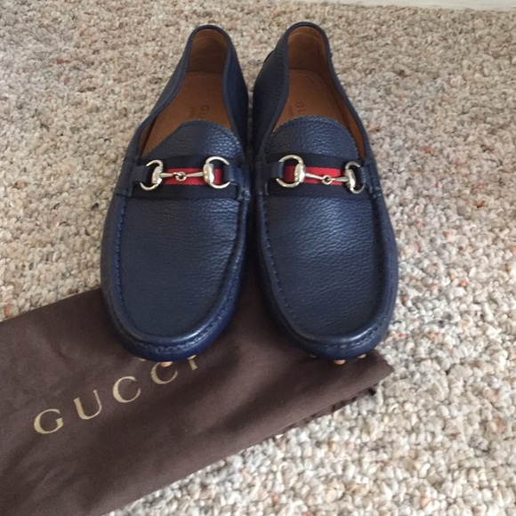 ec418fc925b287 Gucci Shoes | Navy Loafers | Poshmark