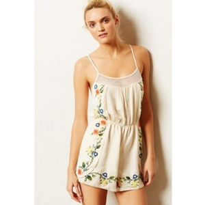 Anthropologie floral embroidered romper