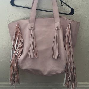 expressions NYC Handbags - Blush tote with fringe