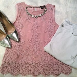 Pink Lace Style Blouse