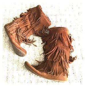 Minnetonka Shoes - Minnetonka Brown Suede Flat Mid Calf Boots
