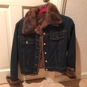 Adrienne Landau fur trim denim jacket