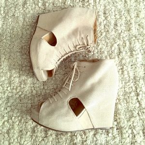 Jeffrey Campbell Shoes - Jeffrey Campbell Mary Roks Beige Suede Wedges