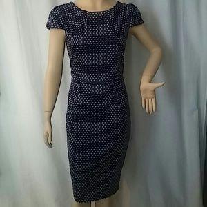 Closet Dresses & Skirts - STYLISH CLOSET LONDON WIGGLE DRESS NAVY POLKADOT