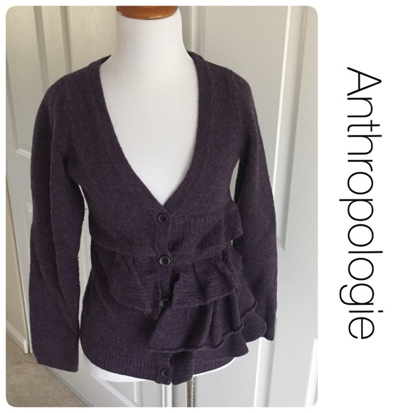 Anthropologie Sweaters - Anthropologie ruffle wool cardigan by Moth S