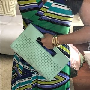 Mint clutch, with tags