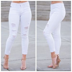 White Distressed Kan Can skinny jeans