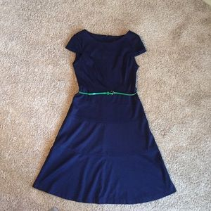 Connected Apparel Dresses & Skirts - Blue dress with green belt