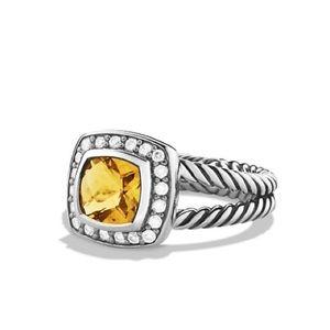 David Yurmam Petite Albion Ring w Citrine/Diamonds