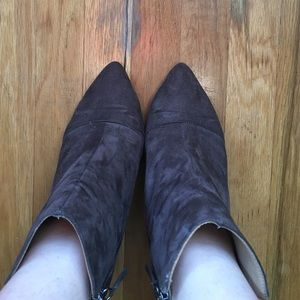 Zara Vegan Suede Booties Almond Toe