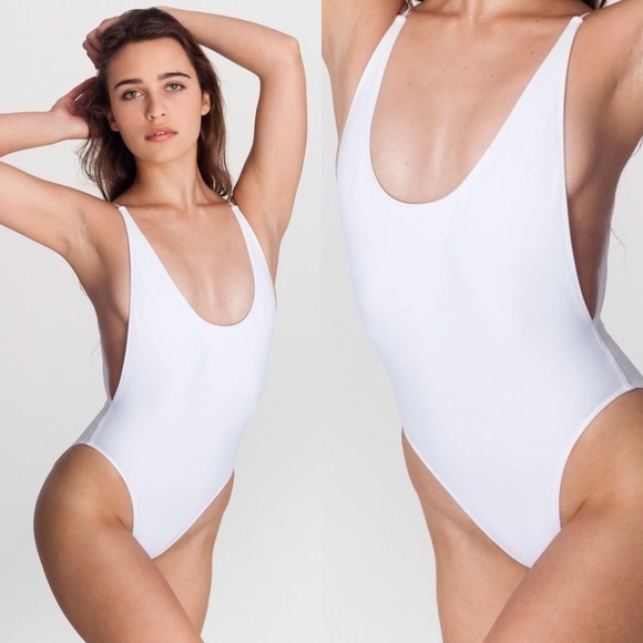 ffe2a1e1c3ad2 White High-Cut Backless One Piece Swimsuit