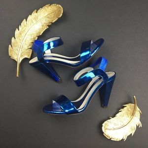 Theory Shoes - THEORY Tella Very Hot Metallic Blue Heels