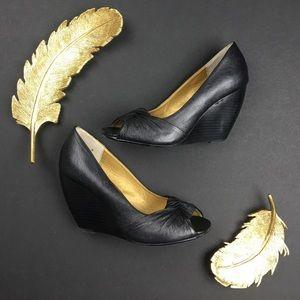 Seychelles Shoes - Seychelles Black Leather Peep Toe Wedge