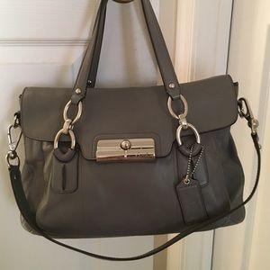 COACH KRISTIN LEATHER SATCHEL-gray/silver hardware