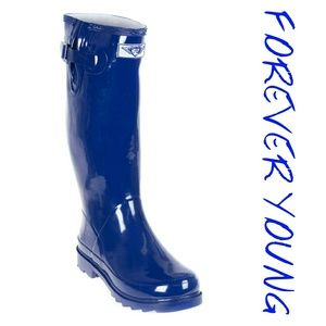 Women Tall Rain Boots, #3106, Navy Blue