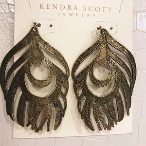 Kendra Scott Dark Brass Karina Feather Earrings