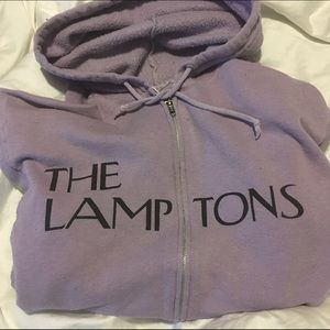 "Blue & Cream Tops - Lavender ""The Lamptons"" full zip hopdie size S"
