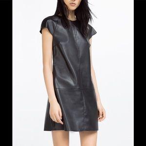 Leather Zara shirt dress
