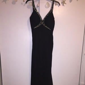 Black prom gown wth ruffles