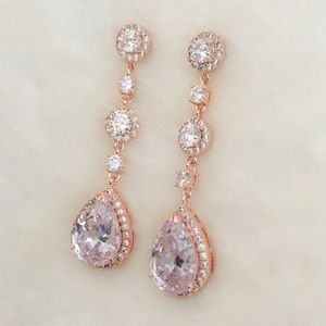 Jewelry - 14k Rose Gold Plated 2in Statement Dangle Earrings