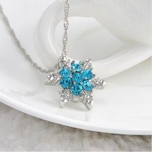 Snowflake Pendant Necklace Silver Tone