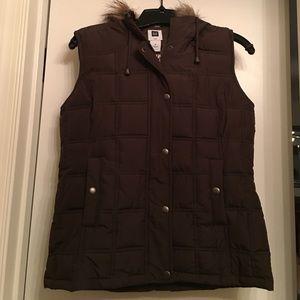 Gap Brown Faux Fur Lined Hooded Vest