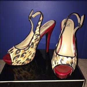 Leopard Peep Toe with Red Heel Pumps