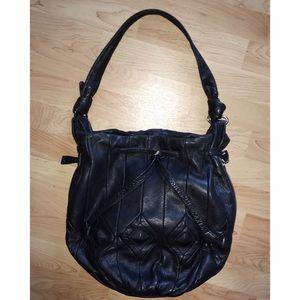 Junior Drake Black Leather Tote Shoulder Bag