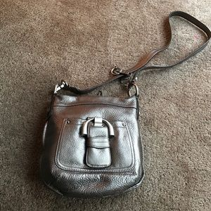B Makowsky  Handbags - B Makowsky Gun Metal Grey Leather Cross Body Bag