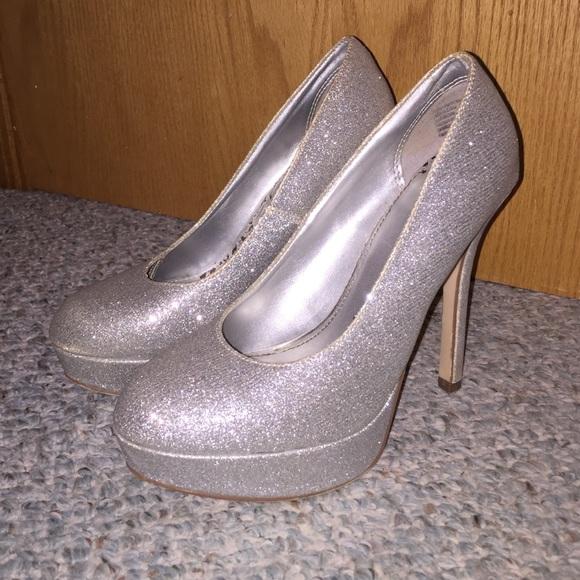 55a5c27c5c1 Brash Shoes - Silver Sparkle Platform Heels