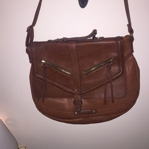 Brown cross body faux leather bag