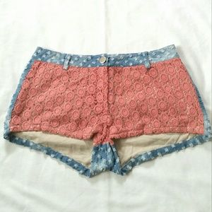 Pants - Coral Orange Crochet Distressed Shorts