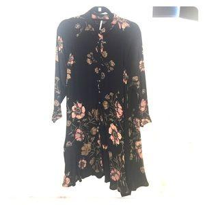 Free people black floral button down dress