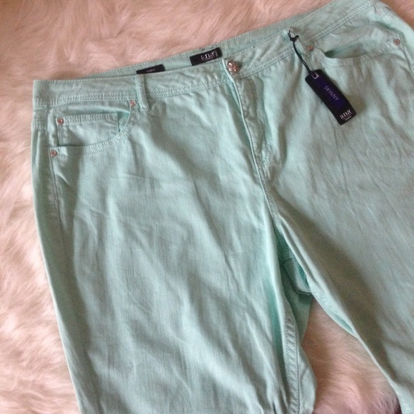 86a8e7f1a8697 Mint green plus size skinny jeans