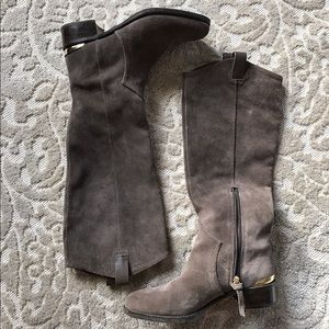 grey suede knee high boots