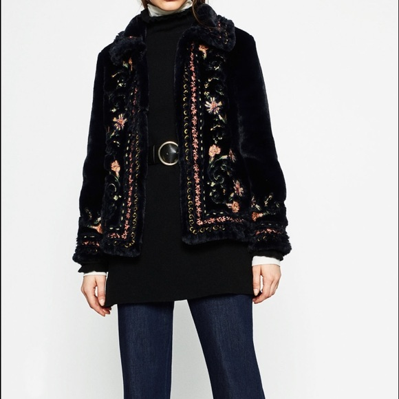 Zara ⭐️zara embroidered faux fur coat from ivy s closet
