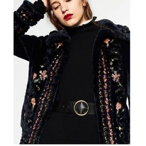Zara embroidered faux fur coat