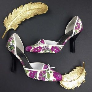 Paolo Shoes - Paolo Purple and White Floral Print Heels