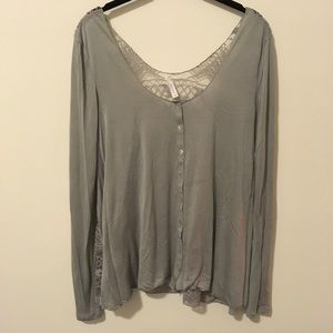 Free People Tops - FREE PEOPLE Grey Button Front Crochet Back Blouse