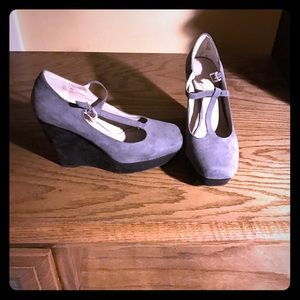 Grey Faux Suede wedges.